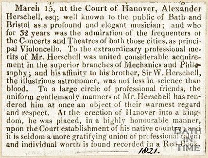 Newspaper article describing W. Herschels talent as a musician, 1821.