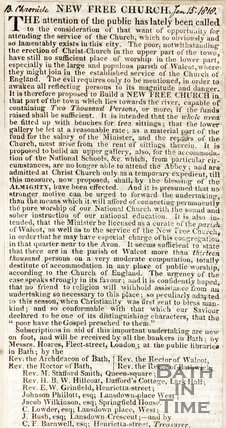 Newspaper article detailing the new proposed church. (Trinity Church), 1818.