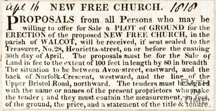 Newspaper article asking for available land to be donated to the new proposed church. (Trinity Church), 1818.