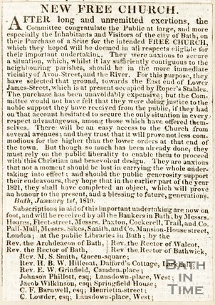 Newspaper article announcing the purchase of the site for the intended church (Trinity), 1819