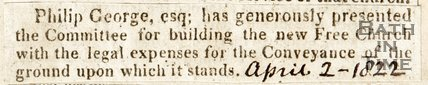 Newspaper article. Presentation of funds to the new Free Church (Trinity) by Philip George, 1822.
