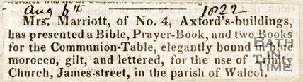 Newspaper article announcing the presentation of bibles and prayer books to Trinity Church, 1822.