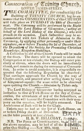 Newspaper article. Consecration of Trinity Church, Lower James Street, 1822.