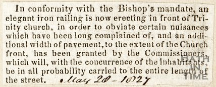Newspaper article announcing an iron railing is to be erected in front of Trinity Church, 1827.