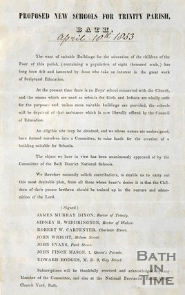Notice proposing new school for Trinity parish, 1853.