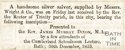 Newspaper article noting the presentation of a silver salver to Rev. James Murry Dickson by Messer. Wrights and Co, 1853.