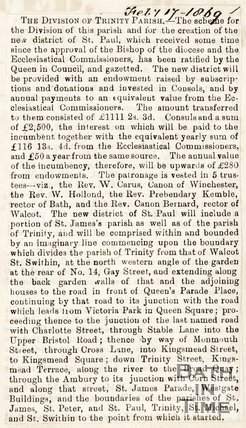 Newspaper article announcing the division of Trinity Parish, 1869.