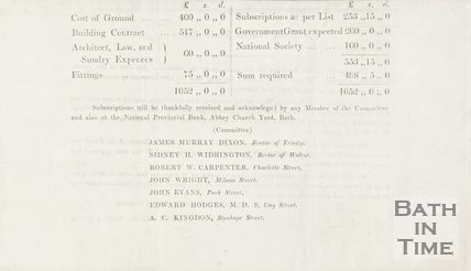 Notice detailing the cost of Trinity church, c.1869