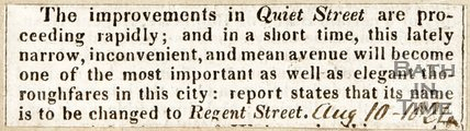 Newspaper article announcing the improvement of Quiet Street 1824