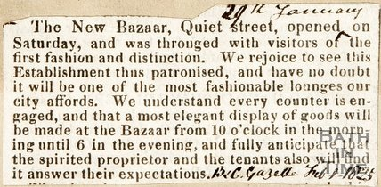 Newspaper article announcing the opening of the new Bazaar on Quiet Street, 1825.
