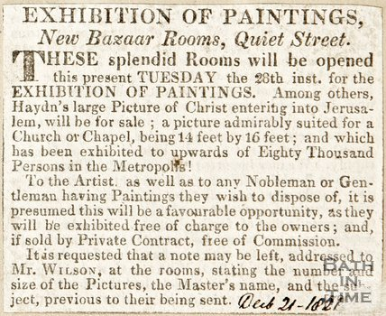 Newspaper article announcing an exhibition of paintings at the new Bazaar Rooms at Quiet Street, 1821.