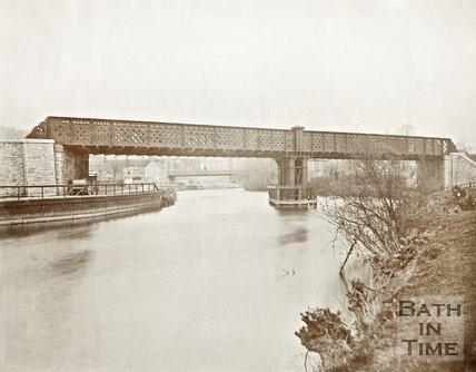 Twerton Bridge crossing the River Avon, c.1870
