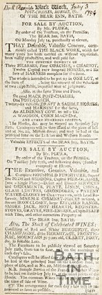Newspaper article announcing the sale (by auction) of Post Chases horses etc. of the Bear Inn. Bath 1794
