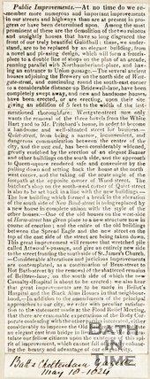 Newspaper article detailing public improvements, 1824.