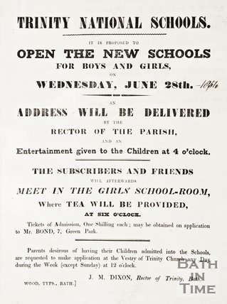 Poster announcing the opening of the Trinity School, 1854.