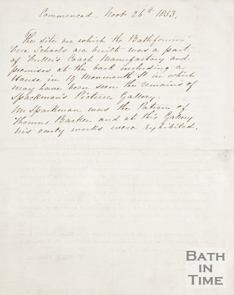 Back of a notice asking for donations to complete the Bath and Bathforum Free School, 1854.