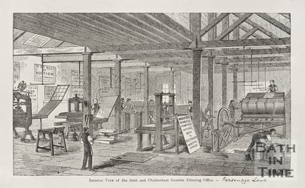 Interior view of the Bath and Cheltenham Printing Office, 1855.