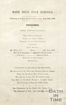 The Bath Blue Coat Schools Programme, 1859.