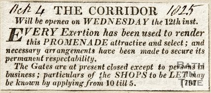 Newspaper article The Corridor 1825.