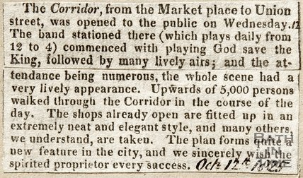 Newspaper article describing the opening of The Corridor, 1825.