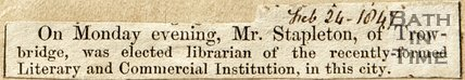 Newspaper article concerning Mr Stapleton becoming librarian, 1847.