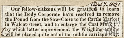 Newspaper article announcing the pound from the Saw Close is to be removed, 1821