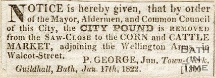 Newspaper article announcing the pound from the Saw Close is to be removed, 1822