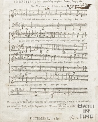A music sheet entitled the Margate Ballad. December 1760.