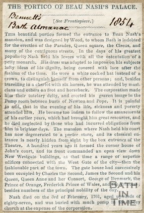 Newspaper article entitled The Portico of Beau Nashs Palace 1854.
