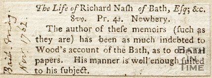 Newspaper article. The Life of Richard Nash of Bath, Esq. 1762.