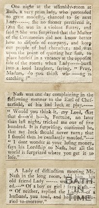 Newspaper article containing a humorous anecdote of witty comments by Beau Nash.