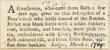 Newspaper article describing what Beau Nash wore, 1769.