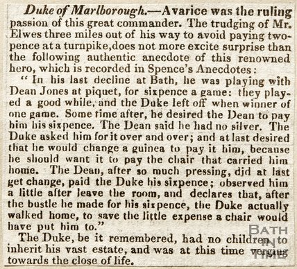 Newspaper article. Duke of Marlborough