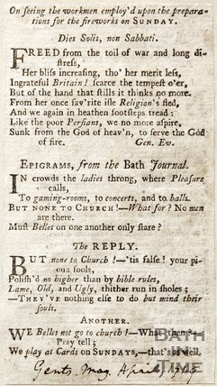 Three short poems on seeing workmen employed of the Sabbath, 1749.
