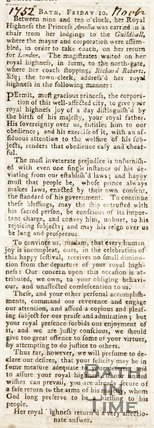 Newspaper article describing the visit of Princess Amelia to Bath. November 1782.