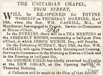 Newspaper article announcing the reopening Unitarian Chapel, Trim Street, 1860.