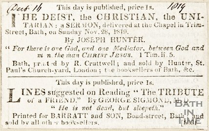 Newspaper article announcing the publication of Joseph Hunters sermon. Also the tribute of a friend by George Sigmond, 1819.
