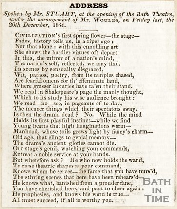 Newspaper article describing the address spoken by Mr Stuart at the opening of the Bath Theatre, 1834.