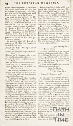 The back of the European Magazine and Review for October 1791.