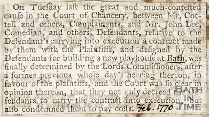 Newspaper article announcing the decision to build a new playhouse at Bath. February 1770.