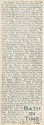 Newspaper article entitled The Former Bath Theatre 1864.