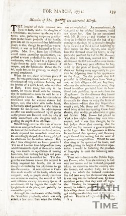 A Page from The Universal Magazine for March 1771. Memoirs of Mrs Barry