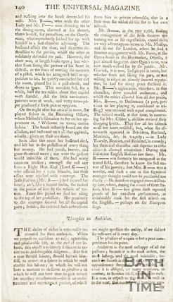Back of a Page from The Universal Magazine for March 1771. Memoirs of Mrs Barry