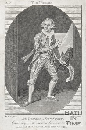 An engraving entitled the wonder with Mr. Dimond as Don Felix, 1792.
