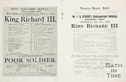 Back of a programme entitled Centenary of the opening of the Theatre Royal, Bath in Beaufort Square 12th October 1905.