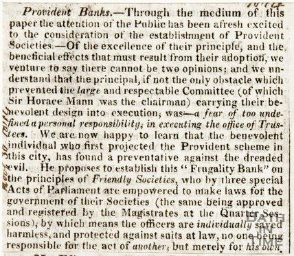 Newspaper article entitled Provident Banks NOV 30 1814.