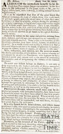 A letter to the editor listing the advantages of Provident banks, 1814.