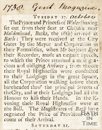 Newspaper article announcing the arrival of the Prince and Princess of Wales to Bath, 1738.