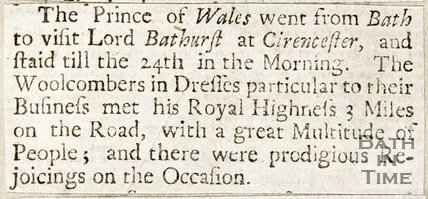 Newspaper article detailing a visit between the Prince of Wales and Lord Bathurst, 1738.