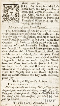 Newspaper article in which the Corporation of the City of Bath addresses the Prince of Wales celebrating his birthday, 1738.